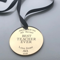 Teachers Medal - Gold Mirror Acrylic