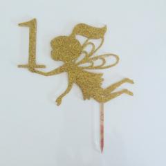 2 Line Cake Topper - Gold Glitter