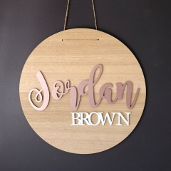 Round Plaque - Tasmanian Oak with Rose Gold and White Name